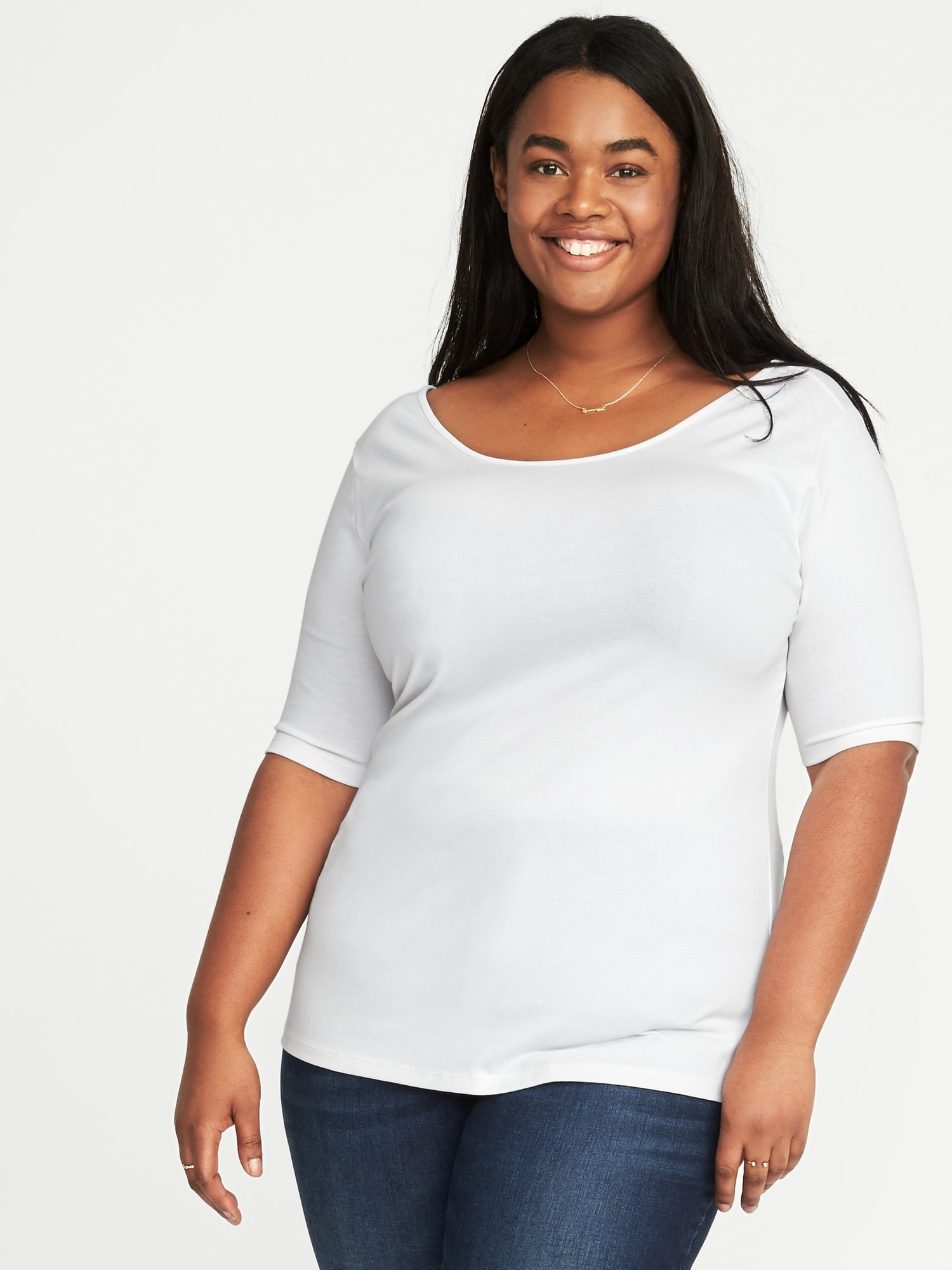 bcaefb3baa1 Fitted Ballet-Neck Plus-Size Jersey Tee