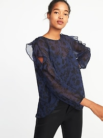 Cold-Shoulder Ruffle-Trim Blouse for Women