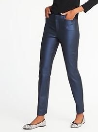 Mid-Rise Coated Pixie Ankle Pants for Women