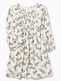 Pintucked Bell-Sleeve Swing Dress for Girls