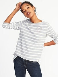 Relaxed Graphic Mariner-Stripe Tee for Women