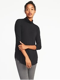 Luxe Curved-Hem Turtleneck for Women