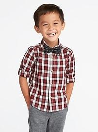 Plaid Dress Shirt & Bow-Tie Set for Toddler Boys