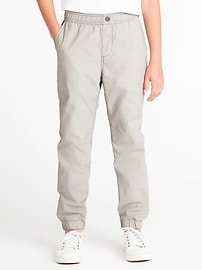 Jersey-Lined Twill Joggers for Boys