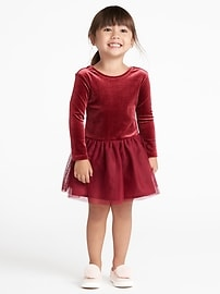 Velvet Scoop-Back Tutu Dress for Toddler Girls