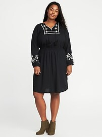 Embroidered Plus-Size Cinched-Waist Dress