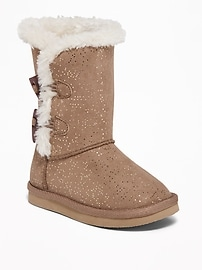 Faux-Fur-Lined Toggle Boots for Toddler Girls