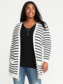 Cardigan ouvert long, taille Plus