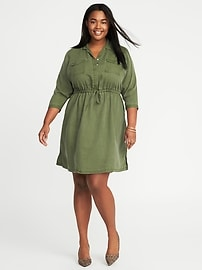 Twill Utility Plus-Size Shirt Dress