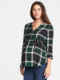 Maternity Tie-Waist Plaid Tunic