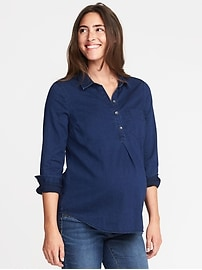 Maternity Classic Chambray Popover Shirt