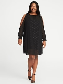 Cold-Shoulder Sparkle-Chiffon Plus-Size Swing Dress