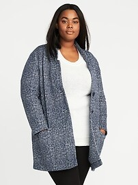 Sweater-Fleece Plus-Size Coat