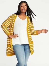 Plus-Size Open-Front Long-Line Cardi