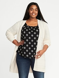 Cardigan texturé en tricot ajouré, taille Plus