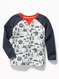 T-shirt raglan à imprimé à couleurs contrastantes pour tout-petit garçon