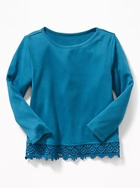 Lace-Hem Swing Top for Toddler Girls