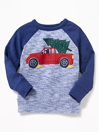 Sweater-Knit Graphic Raglan Pullover for Toddler Boys