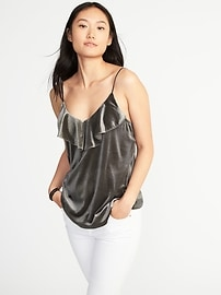 Relaxed Ruffle-Trim Velvet Cami for Women