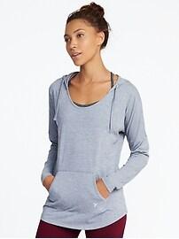 Tunique à capuchon en jersey coupe ample pour femme