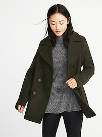 Classic Wool-Blend Peacoat for Women