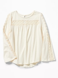 Lace-Trim Scoop-Neck Tee for Girls