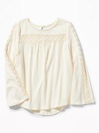 T-shirt col échancré avec garniture en dentelle pour fille