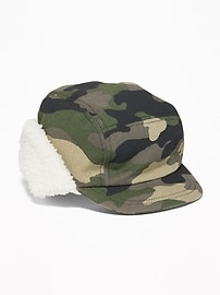 Sherpa-Lined Trapper Hat for Toddler Boys