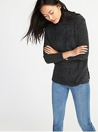 Mock-Neck Bouclé Sweater for Women