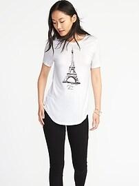 T-shirt décontracté à ourlet arrondi pour femme