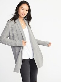Cable-Knit Open-Front Cardi for Women