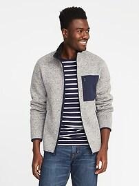 Veste molletonnée en tricot avec doublure en sherpa pour homme