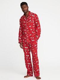Patterned Flannel Pajama Set for Men