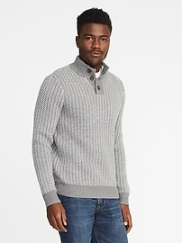 Buttoned Mock-Neck Sweater for Men