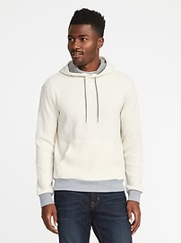 Thermal-Knit Color-Block Hoodie for Men
