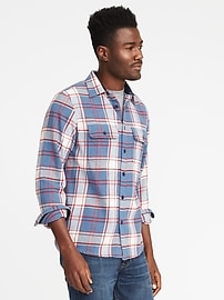 Plaid Flannel Shirt Jacket for Men