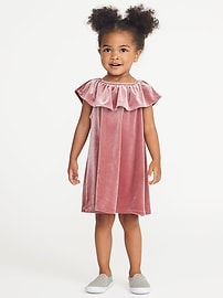 Off-the-Shoulder Velvet Dress for Toddler Girls