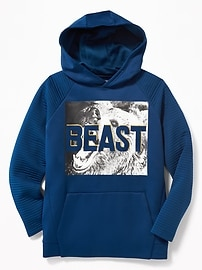 Go-Warm Ribbed-Sleeve Graphic Hoodie for Boys