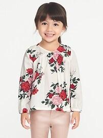 Floral-Print V-Neck Blouse for Toddler Girls