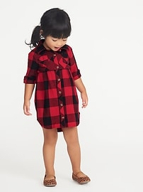 Plaid Shirt Dress for Toddler Girls