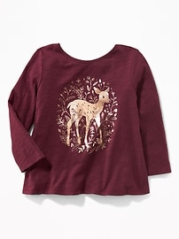 Graphic Bow-Back Swing Tunic for Toddler Girls