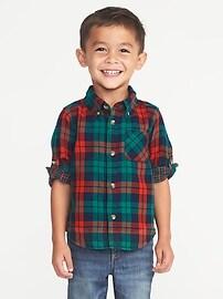 Chemise à double tissage et à manches retroussables pour tout-petit garçon