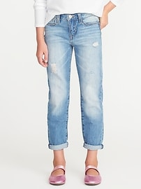 Distressed Heart-Patch Boyfriend Skinny Jeans for Girls