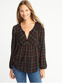 Relaxed Plaid Split-Neck Top for Women