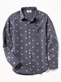 Printed Built-In Flex Classic Shirt for Boys
