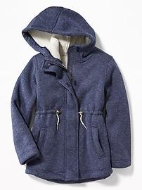 Sherpa-Lined Sweater-Knit Fleece Jacket for Girls