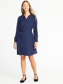 Satin Tie-Belt Shirt Dress for Women