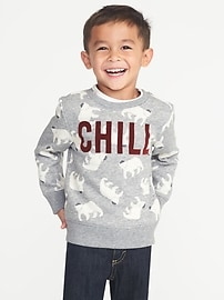 """Chill"" Polar Bear Graphic Sweatshirt for Toddler Boys"