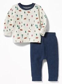 Printed Sweatshirt & Fleece Pants Set for Baby