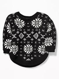Fair Isle Dolman-Sleeve Sweater for Baby
